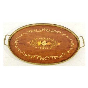 Marquetry Wood Inlay Serving Tray